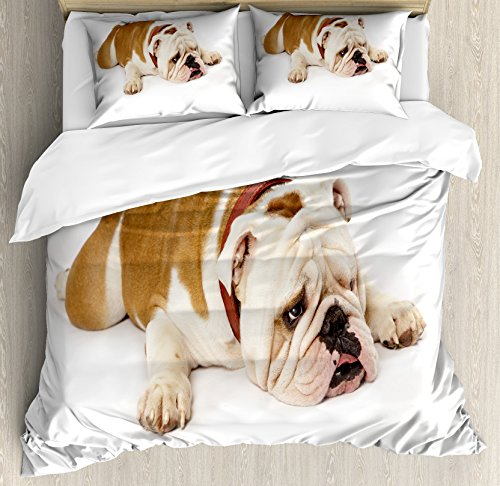 Ambesonne English Bulldog Duvet Cover Set, Sad and Tired Bulldog Laying Down European Pure Breed Animal Photography, Decorative 3 Piece Bedding Set with 2 Pillow Shams, King Size, Brown Cream 1