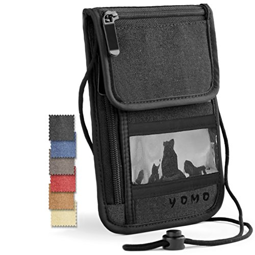 Passport Holder- by YOMO. RFID Safe. The Classic Neck Travel Wallet. (Black With Window ID-Deluxe)