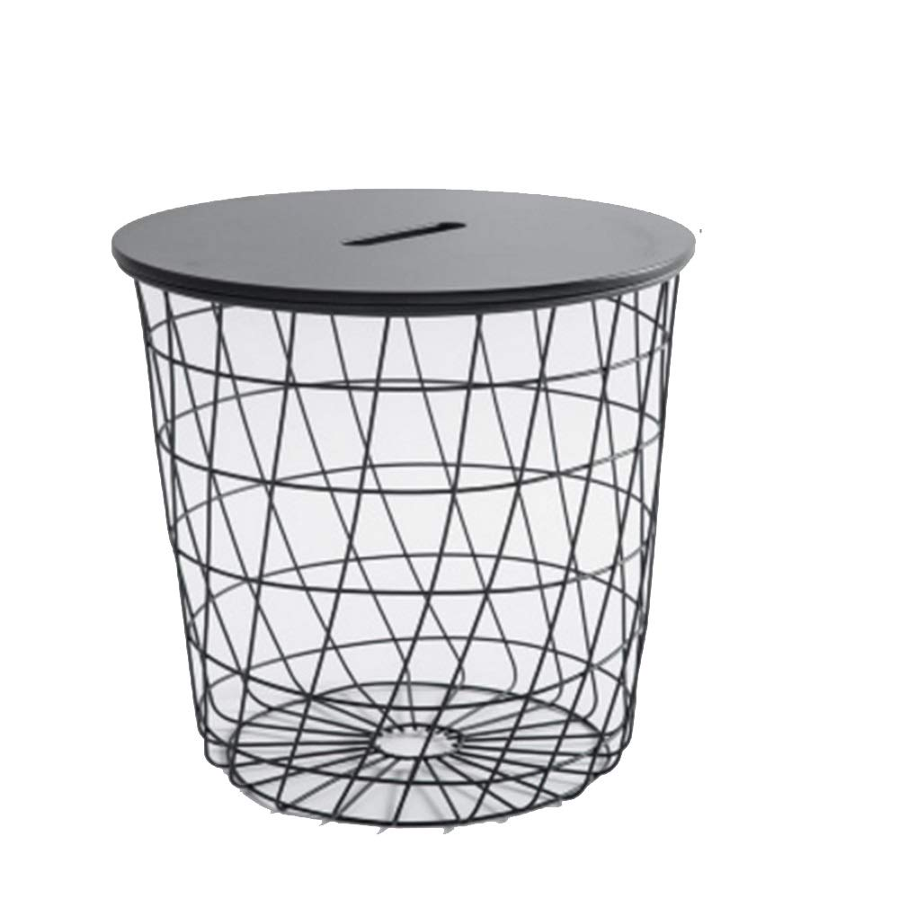 Xiaomei Wrought Iron Side Table Sofa Bedroom Balcony Bed Round Table Metal Storage Basket