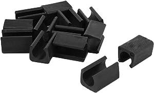 Chair Legs Tips Caps, Furniture Foot Pads Covers 11mm Rectangle U Shape PP Plastic Non-Slip Black 20pcs