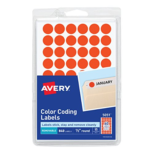 (Avery 05051 Handwrite Only Removable Round Color-Coding Labels, 1/2 dia, Neon Red (Pack of 840))