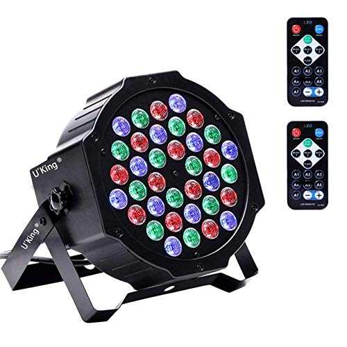 Stage Lights 36 LED, U`King Par Lights Indoor for Party Disco Wedding With 2 Remote and Sound Activated RGB Party Lights (1 Pack)