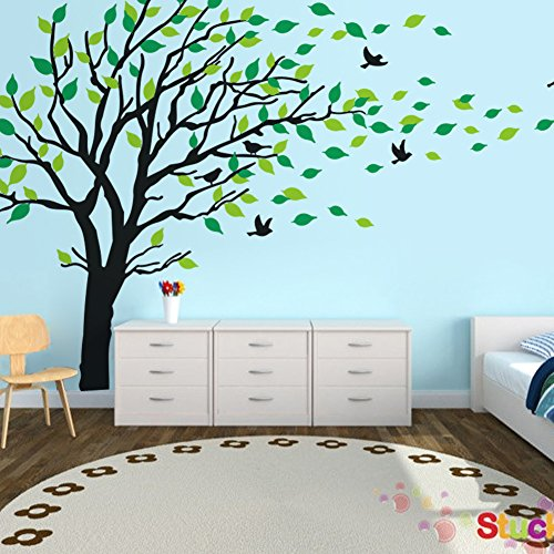 Luckkyy large black green tree blowing in the wind tree for Black tree wall mural