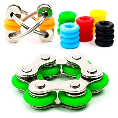 Fidget Toys for Sensory Kids Set - Roller Chain Fidget Toy + Flippy Chain Stress Reducer + 20 Silicone Rings - 6 Customizable Colors for Flippy - Anxiety / ADHD Fidget Toys for Adults and Kids
