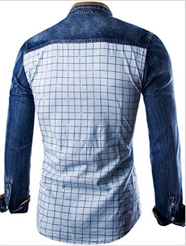 Whatlees Mens Long Sleeve Plaid Corduroy Wahsed Denim Button Down Dress Shirt B460-White-S