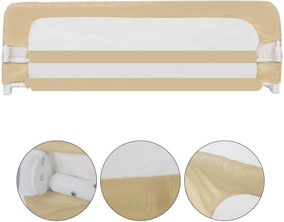 lyrlody Barandilla Cama Ni/ño 150cm Abatible Resistente Barandilla para Cama Barrera Cama Ni/ños Beige Altura Ajustable