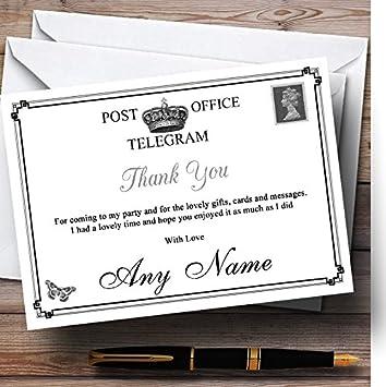 Vintage Telegram Elegant White Personalized Party Thank You Cards
