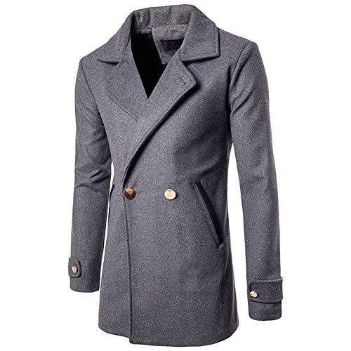 Huixin Men's Sailor Jacket Double Breasted Coat Pea Wool Blend Apparel Coat Tweed Jacket Peacoat Long Sleeve Slim Fit Lapel Trench Coat Grau