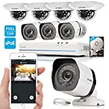 Zmodo 1080p 8CH NVR Security Camera System with 4x Outdoor  4x Indoor Dome HD Megapixel Surveillance Camera 2TB Hard Drive