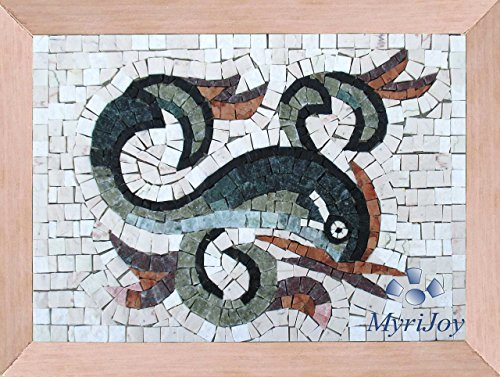 "Mosaic craft kit for adults Dolphin 13""x9"" - Love messenger - Arts and Crafts - Mosaics Greek Roman - DIY wall art home decor - Original gift ideas - Mosaic supplies - Italian marble tiles from MyriJoy"