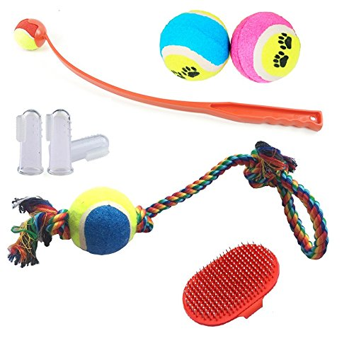 Dog Pack With Toys - Brush And Toothbrush: Manual Ball Thrower With Ergonomic Handle And Tennis Balls For Fun And Exercise - Toothbrush And Dog Chew Rope For Dental Health - Hair Brush For Shiny Coat