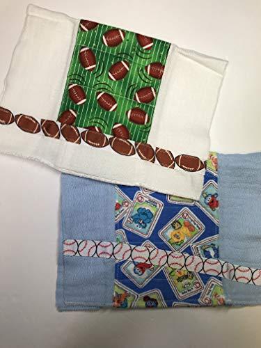Burp Cloth Set of 2 - Baby Baseball & Fun Footballs