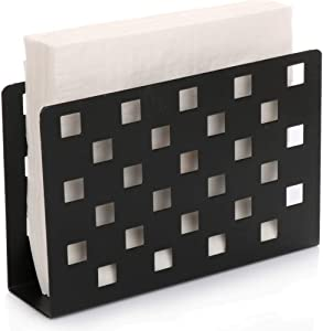 Paper Napkin Holder for Kitchen Tables and Counter Tops| Black Galvanized Napkin Basket Caddy| Vintage Modern Décor| Farmhouse Decoration (Checkerboard)