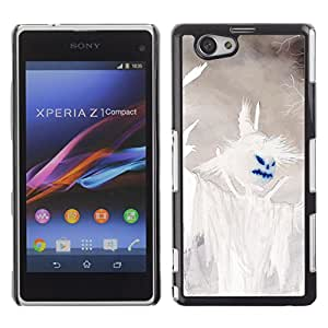 XYTE Slim Case Cover Backcover Frame Shell Sony Xperia Z1 Compact // Halloween White Scarecrow Pumpkin //