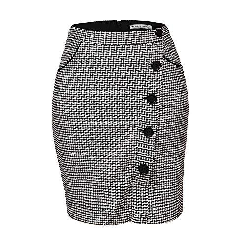 GLOSTORY Women's High Waist Knee Length Button Short Tweed Pencil Skirt 1810 (XL,Black ()