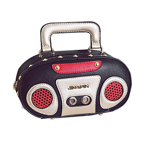 HandBag Women Black Leather Purse Radio Clutch Bag Crossbody wRRqztFY