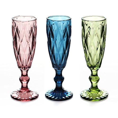 3 Colors Elegant Toasting Flutes Wine Series Champagne Flutes Creative Handmade Retro Relief Designed Champage Flute Glasses for Wedding, Party, Bars, Set of 3 (Diamond)