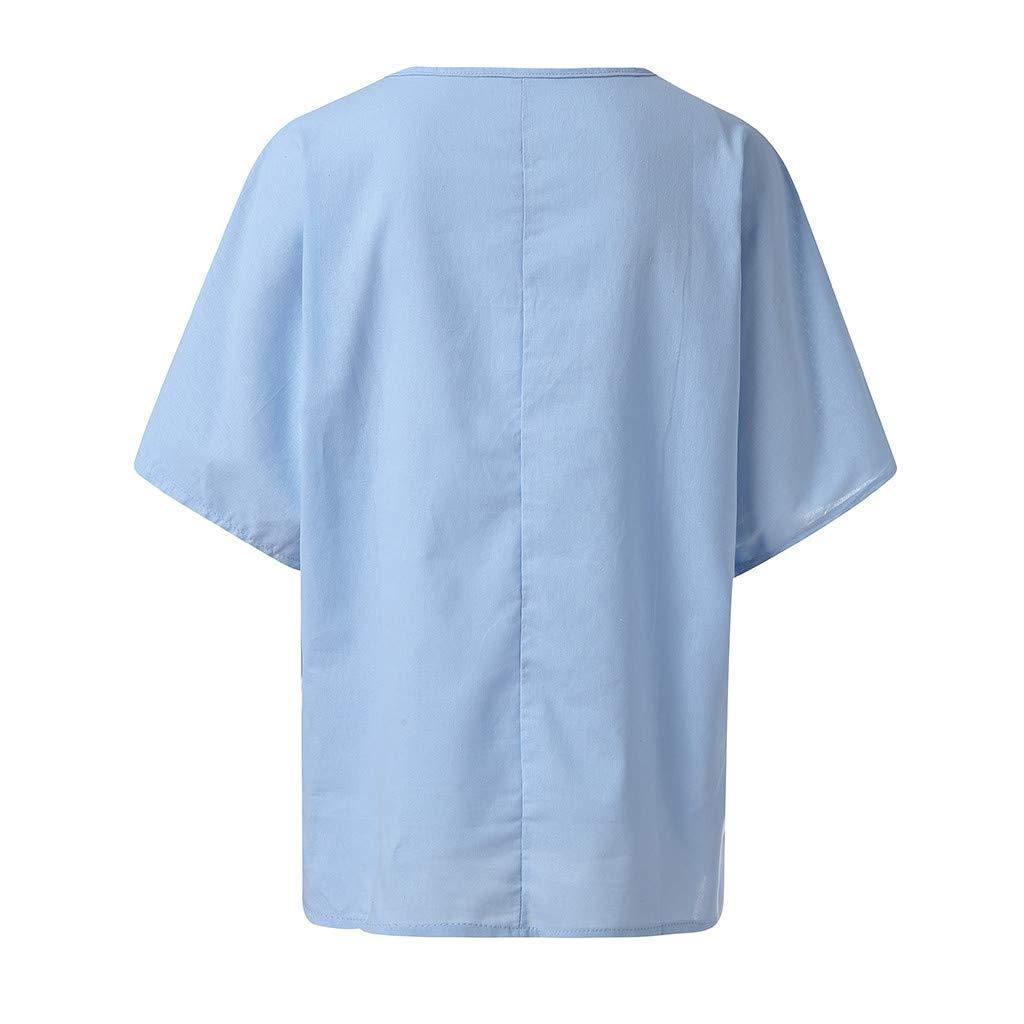 Zegeey Damen Oberteil Einfarbig Halbe /ÄRmel Rundhals T-Shirt Shirts Tops Tunika L/äSsige Lose