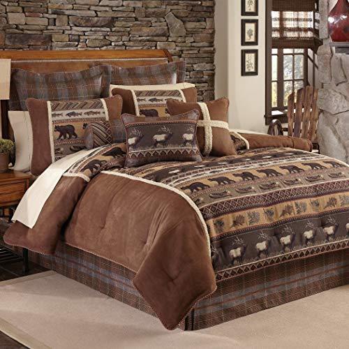 4 Piece Wildlife Theme Brown Queen Comforter Set Bear