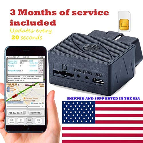 AES RGT902 OBD II GPS Tracker ( PRE-ACTIVATED SIM CARD WITH 3 MONTHS SERVICE FREE!!! w/ 20 SECOND UPDATES ) GPRS Mini Portable Vehicle Locating Personal Tracking Device. Connects to OBD Port.