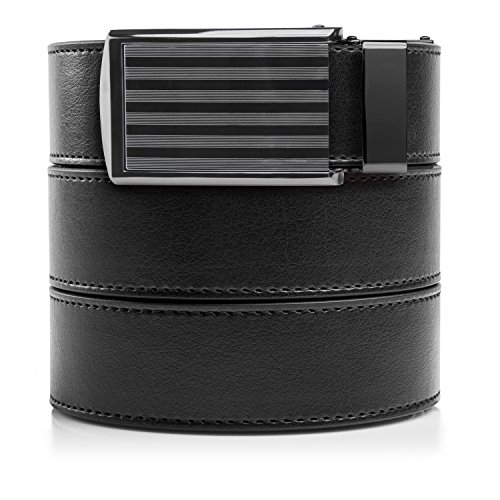SlideBelts Men's Classic Belt with Premium Buckle (Black Leather with Bar-Striped Buckle (Vegan), One ()
