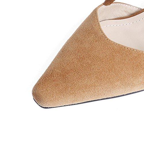 GJDE Sandalias Mujer con Tacón Grueso Correa de Tobillo Señalaron los Zapatos de Tacón Alto Zapatos Verano Light Brown