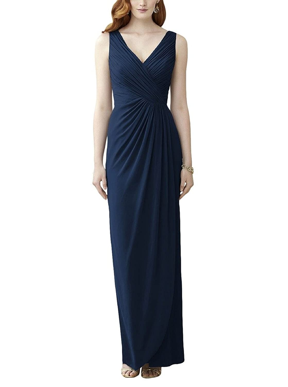 Ssyiz Women's Double V-Neck Chiffon Pleated Long Wedding Dresses (Provide Size,Custom Dress)