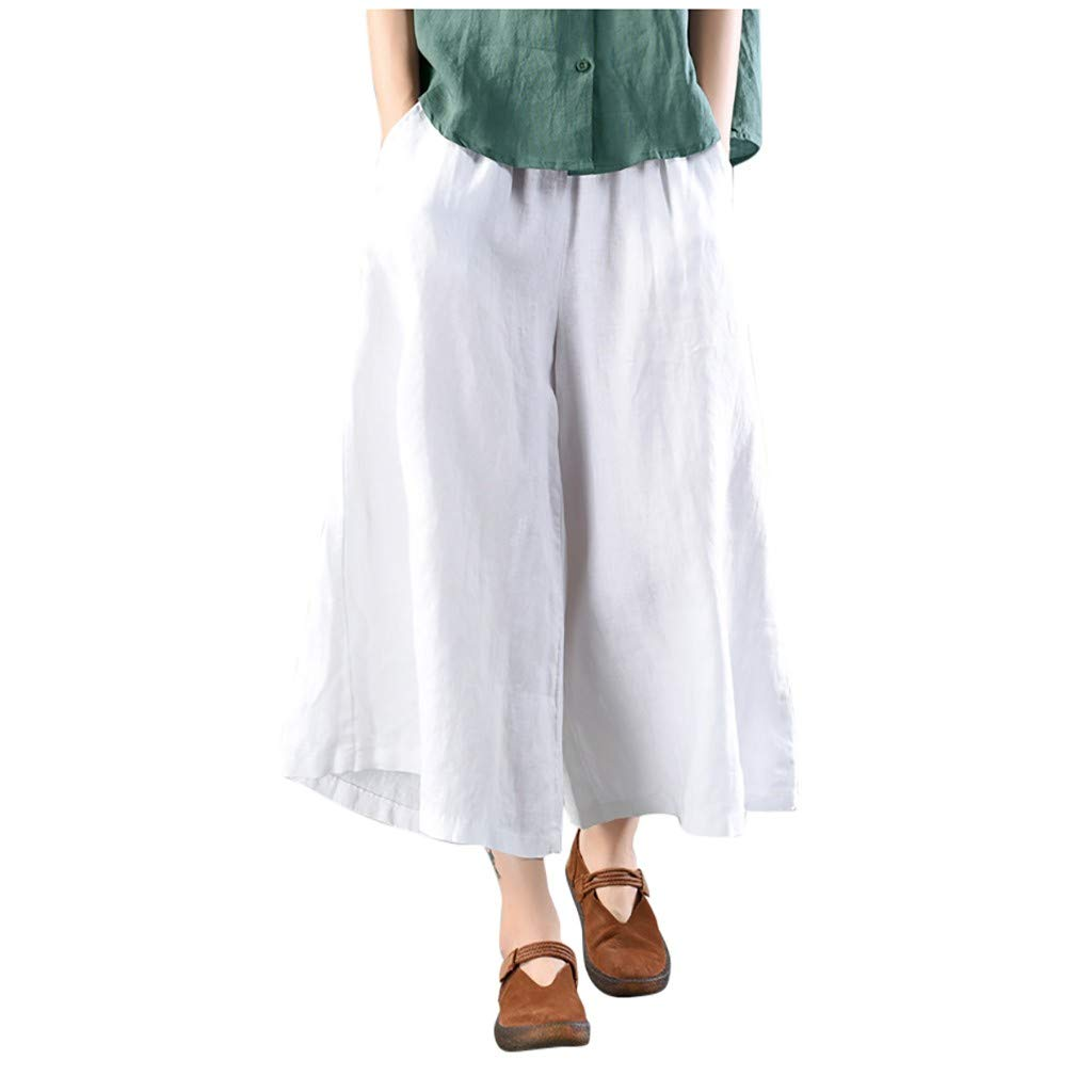 〓COOlCCI〓Women's Pants,Womens Casual Loose Elastic Waist Cotton Trouser Cropped Wide Leg Pants White