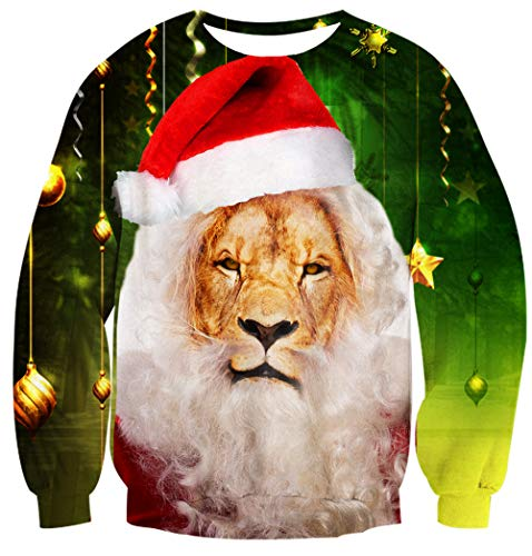 Leapparel Adult Mens Cool Santa King Lion with Hat Print Ugly Christmas Pullover Sweater Jumper Green