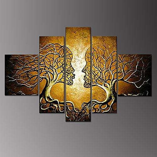 100% HandPainted Oil Paintings Yellow Human Body Face Kiss Couple Romantic Tree 5Piece Abstract Clouds Hanging Wall Decoration Bedroom Decor by uLinked Art