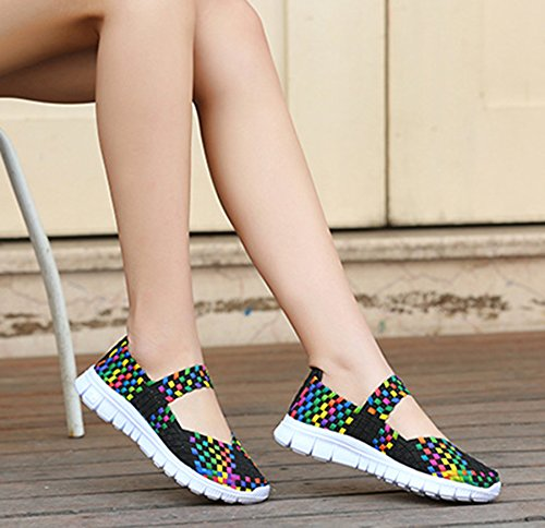 Women's Stretch Loafers CAMSSOO Fashion Mesh Woven Breathable Sneakers on Slip Janes Colorful Walking Mary Black Shoes REBqd