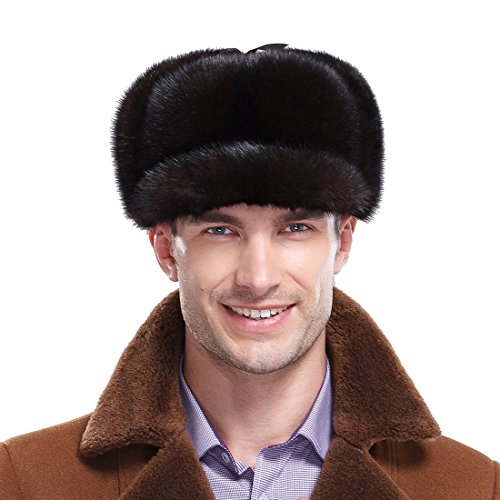 URSFUR Premium Mink Full Fur Hunting Hat Captain Hat (One Size, Natural Color) by URSFUR
