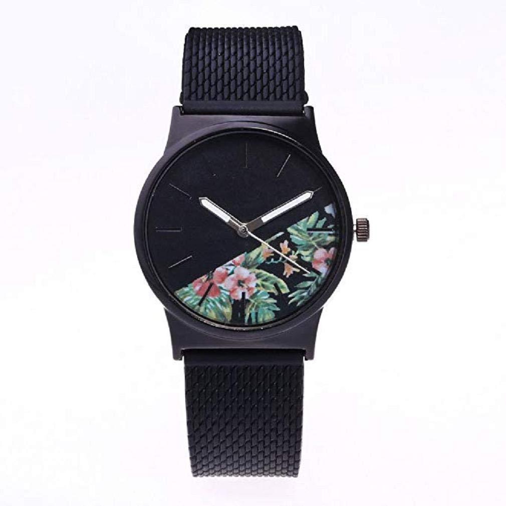 Scpink Mujeres de Cuarzo, Reloj de Flores de impresión Relojes analógicos Femeninos Relojes de Pulsera de Silicona Reloj de señora Ronda dial (Negro): ...
