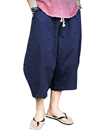 8d9cd30c7b Classic Pink Linen Cropped Pants Men's Casual Wide Leg Drop Crotch with  Pockets Navy M