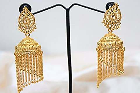 Indian_22k_Gold_Plated_Jhumki_Earring_Set_Partywear_Women_Wedding_Ethnic_Jewelry (Indian Gold Ornaments)