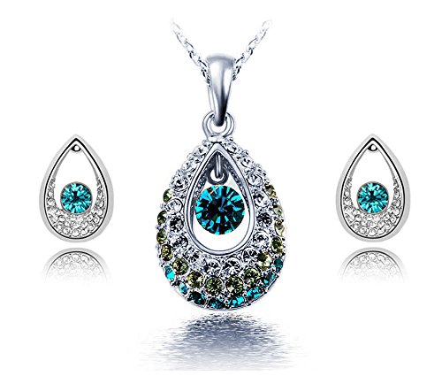 UPC 719239375277, KATGI Fashion Austrian Crystal Angel Teardrop Pendant Necklace & Earrings (Set of 2) (Silver Green)
