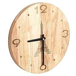 12 Inch Natural Finish Solid Oak Wood Parisian Eiffel Tower Design Wall Clock / Decorative Timepiece