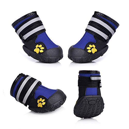 Magic Zone Waterproof Dog Shoes Non-Slip Dog Snow Boots for Various Size 4pcs