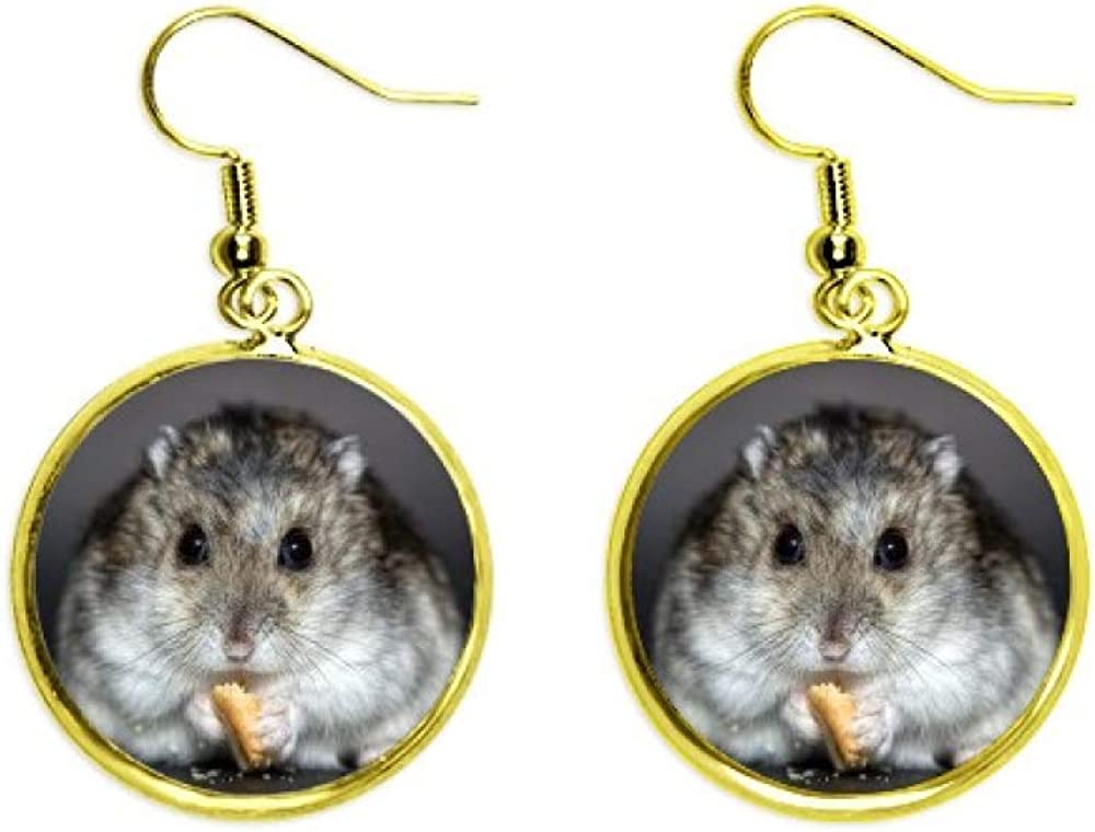 Pendientes de gota dorados para mujer, diseño de rata de hámster