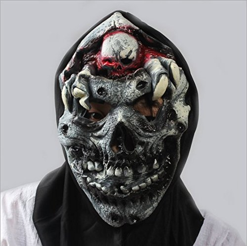 [Candylight Evade Glue Halloween Mask with Black Cloth] (New Blood Jason Costume)