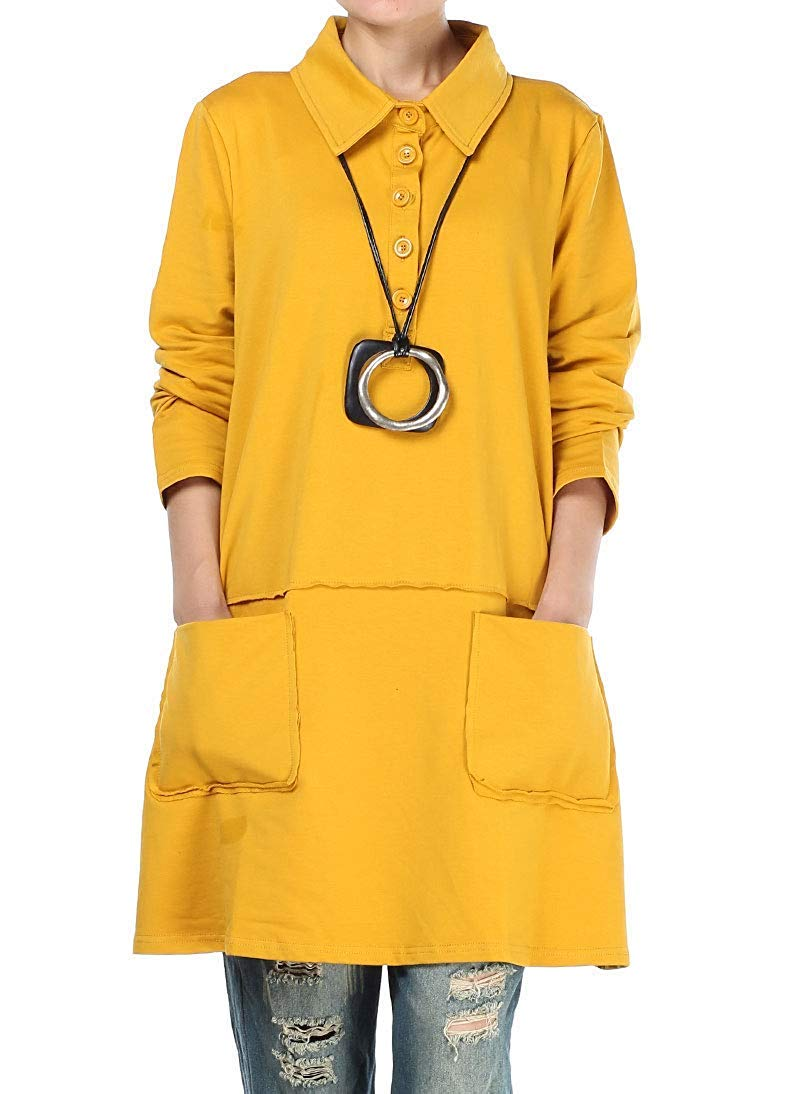 Eletina Staring Women's Soft Polo Shirt Performance Tunic with Front Pockets Yellow by Eletina Staring