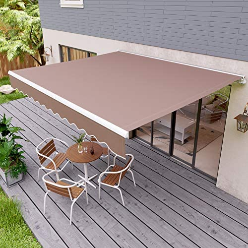 streakboard 98 78 Patio Awning, Outdoor Retractable Sunshade Window Door Shelter Canopy, Water UV Heat Resistant with Crank Handle, for Courtyard, Balcony, Shop, Restaurant, Cafe 9878 inch