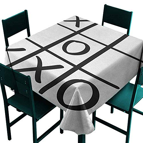 (Warm Family Xo Waterproof Tablecloth Tic Tac Toe Pattern Unfinished Game Hobby Theme Alphabet Minimalist Artful Image Great for Buffet Table W54 x L54 Black and White)
