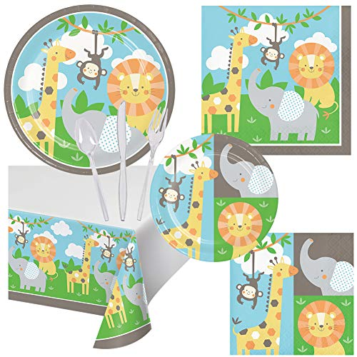 (Jungle Animals Birthday Party Pack Set Serves 16 Children Adults – Luncheon & Dessert Paper Plates, Table Cover, Napkins & Cutlery – Disposable Party Supplies for Food Cake Home School Work Parties)