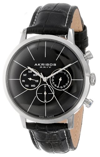 Akribos XXIV Men s AK647SS Ultimate Multifunction Stainless Steel Watch with Textured Black Leather Band