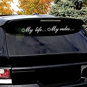 Mein Leben Meine Regeln Aufkleber auf dem Auto Autoaufkleber alpqq Color Name : Black, Size : 20x3cm