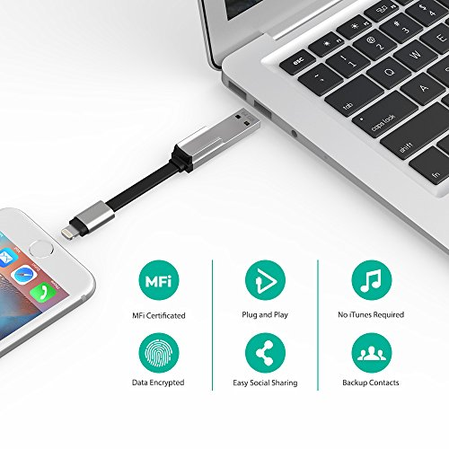 Flash Drive for iPhone and iPad 128GB MFi Certified USB 3.0, RAVPower iOS Flash Drive Photo Stick with Charging Support, Touch ID Encryption, Compatible iPhone X XR XS 6 6S 7 7S 8 8S iPad Mac Windows by RAVPower (Image #5)