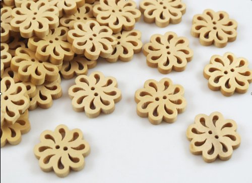 Wholesale 50pcs New Pierced Flower Wood the Buttons 20mm Sewing Craft Wood Color Sewing Button