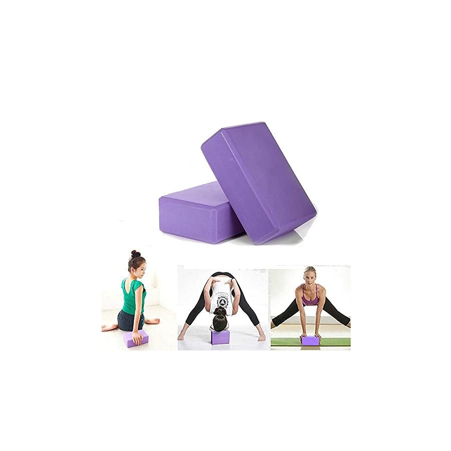 "Yoga Foam Blocks (Set of 2) plus strap with Metal D Ring Standard Studio Size 9"" x 6"" x 4"""
