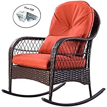 Amazon Com Patio Rattan Wicker Rocking Chair Porch Deck Rocker